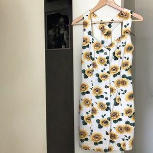 Vintage White + Sunflower Denim Dress